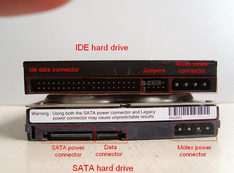 the difference between the connectors on the IDE Hard Disk with SATA