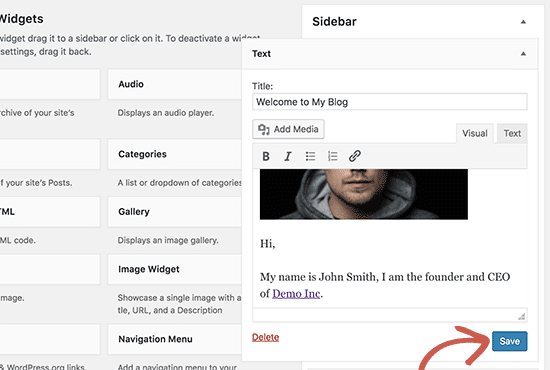 addingtext - add image in wordpress widget