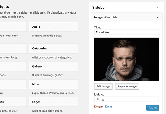 add image to wordpress widget - widget preview