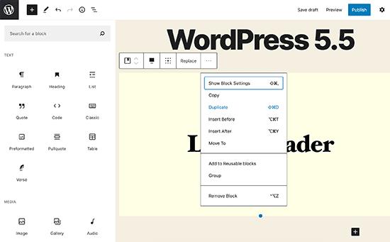 wordpress 5.5 block editor